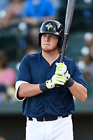 First baseman Dash Winningham (34) of the Columbia Fireflies bats in a game against the Lexington Legends on Thursday, June 8, 2017, at Spirit Communications Park in Columbia, South Carolina. Columbia won, 8-0. (Tom Priddy/Four Seam Images)