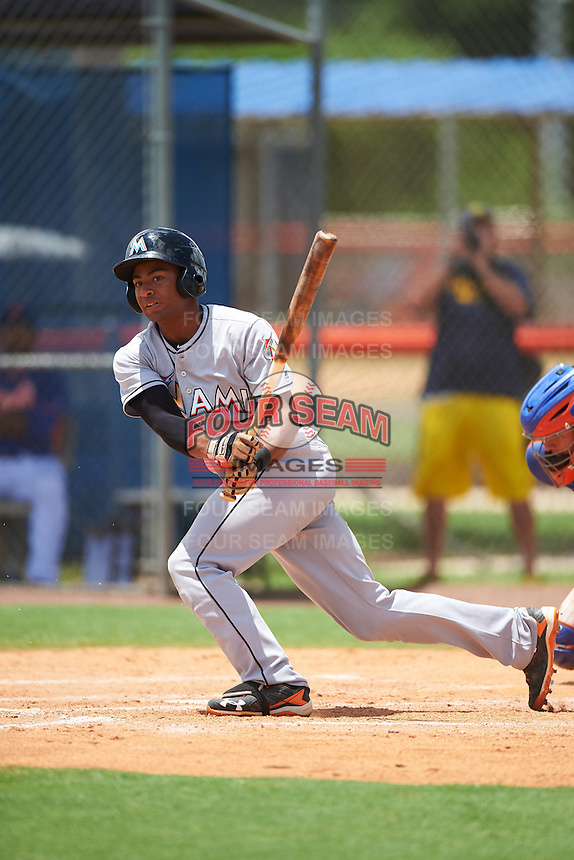 GCL Marlins designated hitter James Nelson (5) at bat during a game against the GCL Mets on August 12, 2016 at St. Lucie Sports Complex in St. Lucie, Florida.  GCL Marlins defeated GCL Mets 8-1.  (Mike Janes/Four Seam Images)