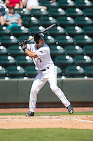 Ethan Wilson (2) of the Winston-Salem Dash at bat against the Carolina Mudcats at BB&T Ballpark on April 22, 2015 in Winston-Salem, North Carolina.  The Dash defeated the Mudcats 4-2..  (Brian Westerholt/Four Seam Images)