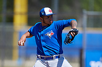 Toronto Blue Jays pitcher Maximo Castillo (65) during a Minor League Spring Training Intrasquad game on March 14, 2018 at Englebert Complex in Dunedin, Florida.  (Mike Janes/Four Seam Images)