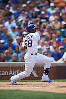 Chicago Cubs outfielder Jorge Soler (68) at bat during a game against the Milwaukee Brewers on August 13, 2015 at Wrigley Field in Chicago, Illinois.  Chicago defeated Milwaukee 9-2.  (Mike Janes/Four Seam Images)