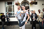 """© Joel Goodman - 07973 332324 . 22/08/2014 .  Manchester , UK . L-R John Wayne (20 from Ancoats) and Brian Dolan (27 from Weaste) on Canal Street . Manchester Pride """" Big Weekend """" in Manchester's """" Gay Village """" today ( 22nd August 2014 ) . Photo credit : Joel Goodman"""