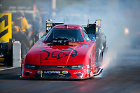 Aug 8, 2020; Clermont, Indiana, USA; NHRA funny car driver Matt Hagan during qualifying for the Indy Nationals at Lucas Oil Raceway. Mandatory Credit: Mark J. Rebilas-USA TODAY Sports