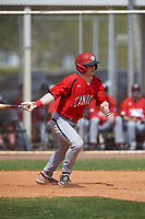 Canada Junior National Team Max Grant (27) bats during an exhibition game against the Toronto Blue Jays on March 8, 2020 at Baseball City in St. Petersburg, Florida.  (Mike Janes/Four Seam Images)