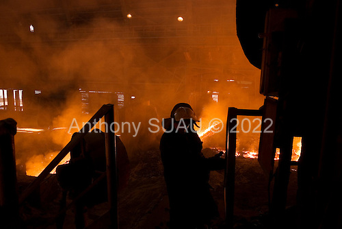 Mariupil, Ukraine.July 29, 2005..The coke ovens, built in 1933, at the steel factory ?Azovstal?. Today it has 20,000 workers and producing 5,000 tons of steel every day. It works 24/7 and exports to various countries. Many of the coke ovens are under repair and modernization in this factory.