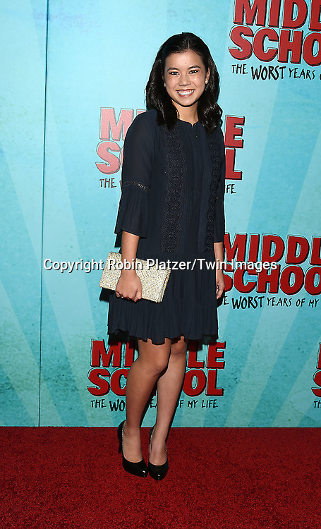 """actress Jessi Goei attends the """"Middle School: The Worst Years of My Life"""" New York Screening on October 1, 2016 at the Regal E-Walk in New York, New York, USA.<br /> <br /> photo by Robin Platzer/Twin Images<br />  <br /> phone number 212-935-0770"""