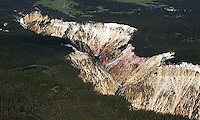 The Grand Canyon of the Yellowstone and Lower Yellowstone Falls, as photographed during an aerial shoot of the park.
