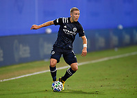 LAKE BUENA VISTA, FL - AUGUST 01: Anton Tinnerholm #3 of New York City FC looks for options on the wing during a game between Portland Timbers and New York City FC at ESPN Wide World of Sports on August 01, 2020 in Lake Buena Vista, Florida.