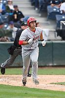 Tyler Sanchez (31) of the Spokane Indians runs to first base during a game against the Everett AquaSox at Everett Memorial Stadium on July 24, 2015 in Everett, Washington. Everett defeated Spokane, 8-6. (Larry Goren/Four Seam Images)