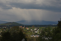 Snow flurries fall over Crozet in mid-April as spring begins to set in Charlottesville, VA.