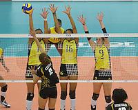 REPUBLICA CHECA. 23-06-2013. La selección Colombia sub 20 de voleibol femenino consiguió este domingo su primera victoria en el Campeonato Mundial de la categoría, que se disputa en Brno, República Checa, al derrotar a Tailandia, por 3-0./ Colombian team beated Thailand by score of 3-0 in 2013 Women's Under 20 World Championship Tournament at Brno, Czech Repuiblic. Photo: VizzorImage / FIVB/ COURTESY/ NO SALES/ EDITORIAL USE ONLY