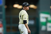 Vanderbilt Commodores head coach Tim Corbin coaches third base during the game against the Houston Cougars during game nine of the 2018 Shriners Hospitals for Children College Classic at Minute Maid Park on March 3, 2018 in Houston, Texas. The Commodores defeated the Cougars 9-4. (Brian Westerholt/Four Seam Images)