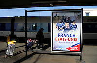 Lorient, France. - Sunday, February 8, 2015: A poster in the Lorient train station. USWNT vs France during an international friendly at the Stade du Moustoir.
