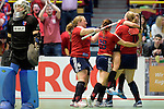 GER - Luebeck, Germany, February 06: During the 1. Bundesliga Damen indoor hockey semi final match at the Final 4 between Berliner HC (blue) and Duesseldorfer HC (red) on February 6, 2016 at Hansehalle Luebeck in Luebeck, Germany. Final score 1-3 (HT 0-1). (Photo by Dirk Markgraf / www.265-images.com) *** Local caption *** (L-R) Sabine Markert #6 of Duesseldorfer HC, Tessa-Margot Schubert #28 of Duesseldorfer HC, Carolin Wolf #10 of Duesseldorfer HC, Darja Moellenberg #11 of Duesseldorfer HC