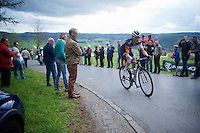 Clément Chevrier (FRA/IAM) up the Côte de Wanne (2200m/7.5%)<br /> <br /> 101th Liège-Bastogne-Liège 2015