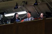 DUKE, NC - FEBRUARY 15: Broadcaster Dick Vitale during a game between Notre Dame and Duke at Cameron Indoor Stadium on February 15, 2020 in Duke, North Carolina.