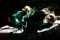 "The body of 6-month-old Palestinian baby Mohammed al-Borai lies on the ground inside a mosque before his funeral in Gaza February 28, 2008. Al-Borai was killed after Israeli military aircraft bombed the Hamas-run Interior Ministry in Gaza city on Wednesday, hospital officials said.""photo by Fady Adwan"""