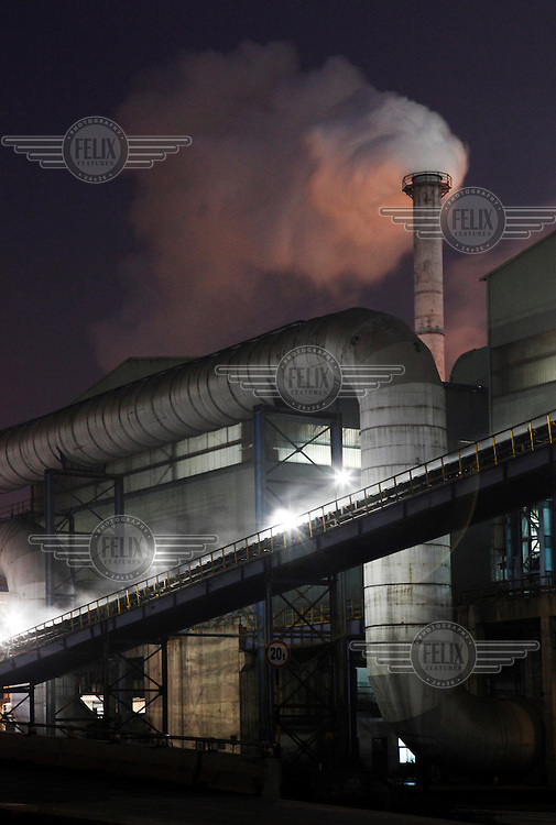 A view of Ma Steel's new plant at night in Maanshan.