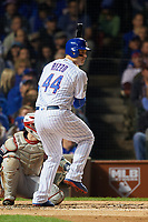 Chicago Cubs Anthony Rizzo (44) bats in the first inning during Game 3 of the Major League Baseball World Series against the Cleveland Indians on October 28, 2016 at Wrigley Field in Chicago, Illinois.  (Mike Janes/Four Seam Images)