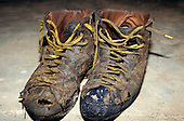 Makande, Gabon. Climber Jean Yves Serein's climbing boots.