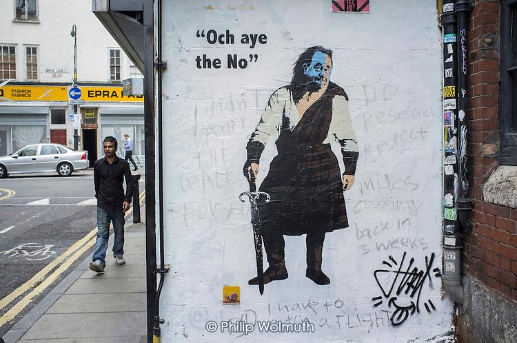 Scottish referendum No vote wall art, Shoreditch, London.