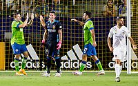 CARSON, CA - SEPTEMBER 27: Cristian Roldan #7 and teammates Will Bruin #17 and Jordan Morris #13 of the Seattle Sounders celebrate Cristian's goal together during a game between Seattle Sounders FC and Los Angeles Galaxy at Dignity Heath Sports Park on September 27, 2020 in Carson, California.