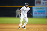 Juan De Leon (43) of the Pulaski Yankees takes his lead off of second base against the Princeton Rays at Calfee Park on July 14, 2018 in Pulaski, Virginia. The Rays defeated the Yankees 13-1.  (Brian Westerholt/Four Seam Images)