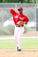 July 14, 2009:  Shortstop Jose Garcia of the GCL Red Sox during a game at Boston Red Sox Training Complex in Fort Myers, FL.  The GCL Red Sox are the Gulf Coast Rookie League affiliate of the Boston Red Sox.  Photo By Mike Janes/Four Seam Images