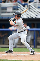 Connecticut Tigers outfielder Michael Gerber (13) at bat during the first game of a doubleheader against the Batavia Muckdogs on July 20, 2014 at Dwyer Stadium in Batavia, New York.  Connecticut defeated Batavia 5-3.  (Mike Janes/Four Seam Images)