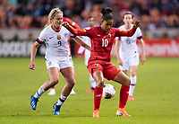 HOUSTON, TX - JANUARY 31: Lindsey Horan #9 of the United States defends Aldrith Quintero #10 of Panama as the ball bounces through her legs during a game between Panama and USWNT at BBVA Stadium on January 31, 2020 in Houston, Texas.