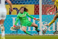 SOLNA, SWEDEN - APRIL 10: Alyssa Naeher #1 of the United States making a save during a game between Sweden and USWNT at Friends Arena on April 10, 2021 in Solna, Sweden.