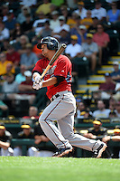 Minnesota Twins catcher Kurt Suzuki (8) during a Spring Training game against the Pittsburgh Pirates on March 13, 2015 at McKechnie Field in Bradenton, Florida.  Minnesota defeated Pittsburgh 8-3.  (Mike Janes/Four Seam Images)