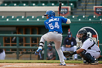Toronto Blue Jays Leonardo Jimenez (54) bats during a Florida Instructional League game against the Detroit Tigers on October 28, 2020 at Joker Marchant Stadium in Lakeland, Florida.  (Mike Janes/Four Seam Images)