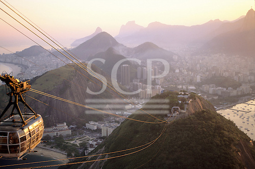 Rio de Janeiro, Brazil. Dawn from the Sugarloaf cable-car.