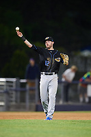 Akron RubberDucks third baseman Eric Stamets (12) throws to first base during a game against the Binghamton Rumble Ponies on May 12, 2017 at NYSEG Stadium in Binghamton, New York.  Akron defeated Binghamton 5-1.  (Mike Janes/Four Seam Images)