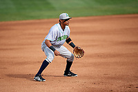 Lynchburg Hillcats third baseman Jorma Rodriguez (9) during the first game of a doubleheader against the Frederick Keys on June 13, 2018 at Nymeo Field at Harry Grove Stadium in Frederick, Maryland.  Frederick defeated Lynchburg 3-0.  (Mike Janes/Four Seam Images)
