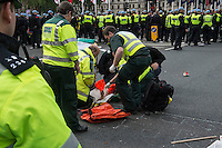 Anti fascists blockade Parliament square to stop a march by the nazi Nritish National Party to the Cenetaph in  Whitehall. 1-6-13 There were scuffles between the two sides and police made several arrests.