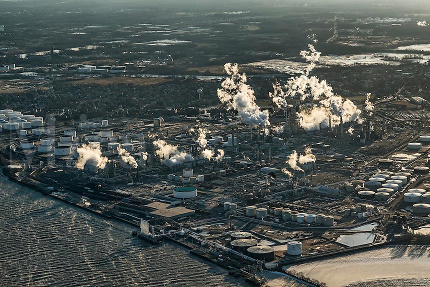 Aerial view of an oil refinery, Philadelphia, Pennsylvania, USA