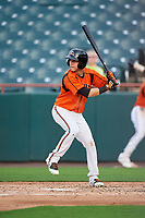 Bowie Baysox shortstop Erick Salcedo (9) at bat during the first game of a doubleheader against the Trenton Thunder on June 13, 2018 at Prince George's Stadium in Bowie, Maryland.  Trenton defeated Bowie 4-3.  (Mike Janes/Four Seam Images)
