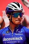 Fausto Masnada (ITA) Deceuninck-Quick Step at sign on before the start of Stage 6 of the 2021 UAE Tour running 165km from Deira Island to Palm Jumeirah, Dubai, UAE. 26th February 2021.  <br /> Picture: Eoin Clarke   Cyclefile<br /> <br /> All photos usage must carry mandatory copyright credit (© Cyclefile   Eoin Clarke)