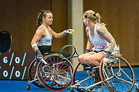 Alphen aan den Rijn, Netherlands, December 18, 2019, TV Nieuwe Sloot,  NK Tennis, Wheelchair womans doubles: Marjolein Buis (NED) and Michaela Spaanstra (NED) (R)<br /> Photo: www.tennisimages.com/Henk Koster