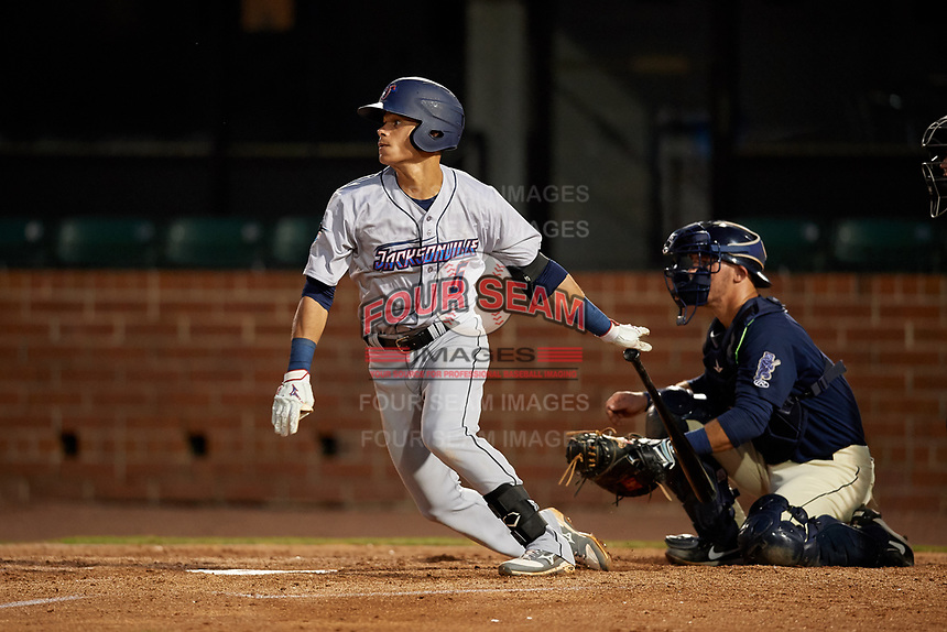 Jacksonville Jumbo Shrimp Bryson Brigman (6) at bat in front of catcher Jack Kruger (10) during a Southern League game against the Mobile BayBears on May 7, 2019 at Hank Aaron Stadium in Mobile, Alabama.  Mobile defeated Jacksonville 2-0.  (Mike Janes/Four Seam Images)