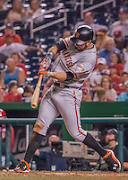 6 August 2016: San Francisco Giants first baseman Brandon Belt hits a solo home run in the 9th inning against the Washington Nationals at Nationals Park in Washington, DC. The Giants defeated the Nationals 7-1 to even their series at one game apiece. Mandatory Credit: Ed Wolfstein Photo *** RAW (NEF) Image File Available ***