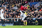 Romelu Lukaku of Manchester United (R) fights for the ball with Ruben Nunes Vezo of Valencia CF (L) during the UEFA Champions League 2018-19 match between Valencia CF and Manchester United at Estadio de Mestalla on December 12 2018 in Valencia, Spain. Photo by Maria Jose Segovia Carmona / Power Sport Images