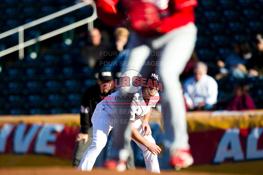 Brent Seifert (4) of the Missouri State Bears leads off first base during a game against the Southern Illinois University- Edwardsville Cougars at Hammons Field on March 9, 2012 in Springfield, Missouri. (David Welker / Four Seam Images).
