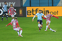 20th July 2021; Buenos Aires, Argentina;  Racing's Ignacio Piatti challenges Gabriel Sara of São Paulo, during the match between Racing and São Paulo, for the Libertadores 2021 Round of 16, at Estádio Presidente Perón in thisterça-feira 20.