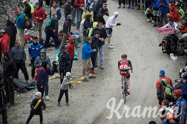 Brent Bookwalter (USA/BMC) up the dirt roads of the Colle delle Finestre (2178m)<br /> <br /> Giro d'Italia 2015<br /> stage 20: Saint Vincent - Sestriere (199km)