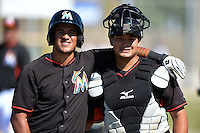 Miami Marlins Rony Cabrera and Rodrigo Vigil before a minor league spring training game against the St. Louis Cardinals on March 31, 2015 at the Roger Dean Complex in Jupiter, Florida.  (Mike Janes/Four Seam Images)