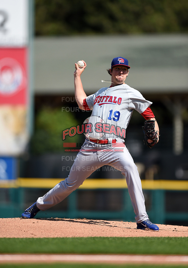 Buffalo Bisons starting pitcher Deck McGuire (19) delivers a pitch during the first game of a doubleheader against the Rochester Red Wings on July 6, 2014 at Frontier Field in Rochester, New  York.  Rochester defeated Buffalo 6-1.  (Mike Janes/Four Seam Images)