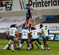 21st March 2021; AJ Bell Stadium, Salford, Lancashire, England; English Premiership Rugby, Sale Sharks versus London Irish; Josh Beaumont of Sale Sharks wins a line out